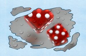 Красные игральные кости в полёте броска.
